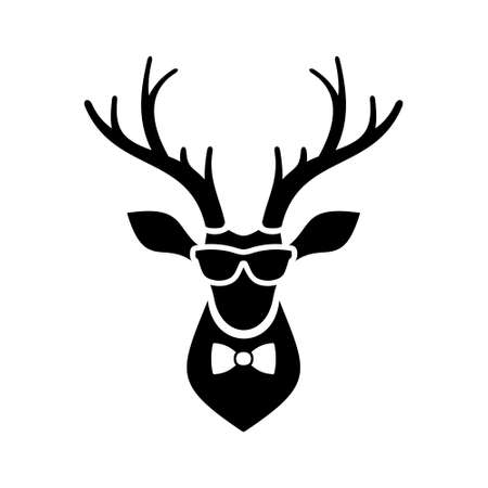 elk horn: Deer Head Icon on white Background. Vector Illustration