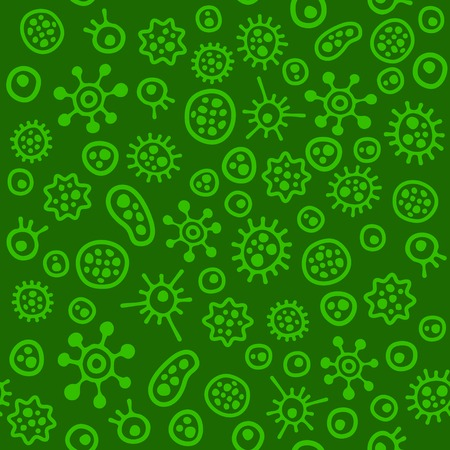 bacteriological: Bacteria Virus Microbe. Seamless Pattern. Vector illustration Illustration