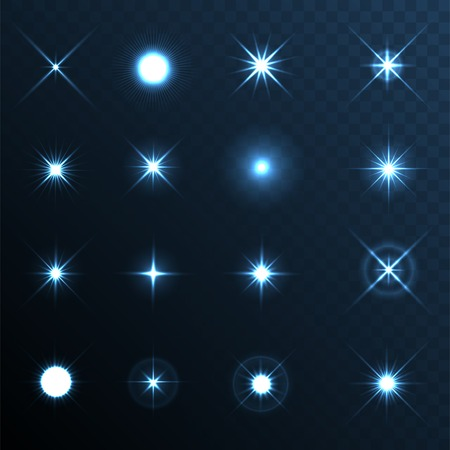 light blue: Light Glow Flare Stars Effect Set
