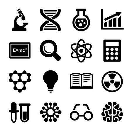 Science Icons Set on White Background.