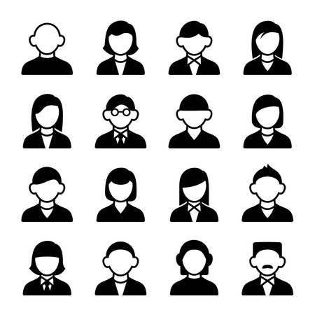 Family Icons and People Icons on White Background