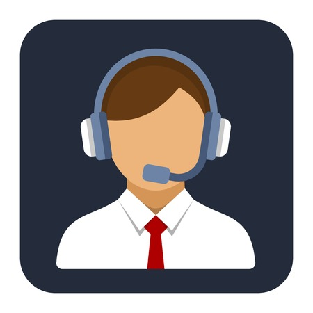 Call Center Operator with Headset Flat Style Icon.