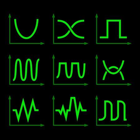 Green Oscilloscope Signal Set on Black Background. Vector Vector