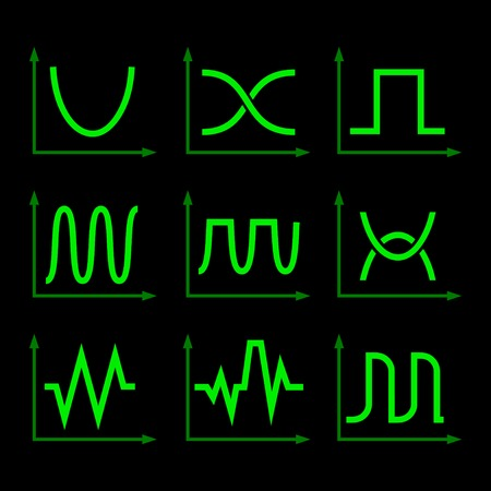 Green Oscilloscope Signal Set on Black Background. Vector