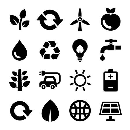 antipollution: Ecolog�a y reciclaje iconos conjunto. Ilustraci�n vectorial
