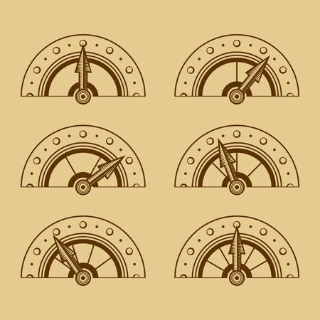 three points: Set of Indicators in Retro Style illustration