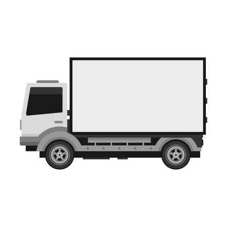 White delivery truck with blank mobile billboard template isolated on white background