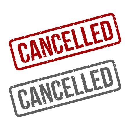 Stamp Cancelled With Red Text over White Background Vector