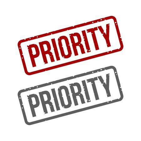 rubberstamp: Priorit� inchiostro Grungy Red timbro Vettoriali