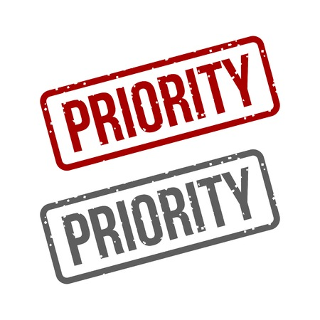 Priority Grungy ink Red stamp Vector