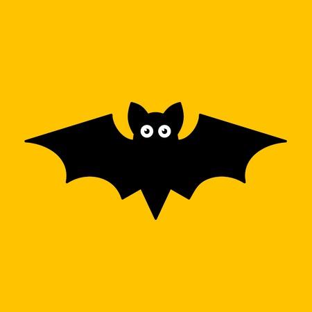 bat: Cartoon Bat on Orange Background