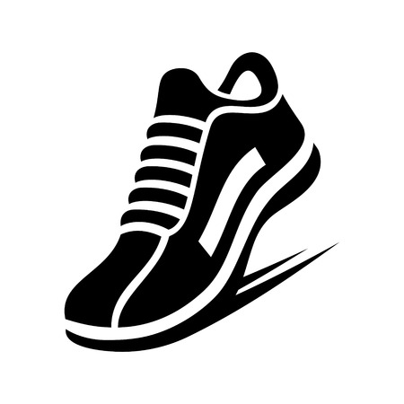 walking trail: Running Shoe Icon on White Background