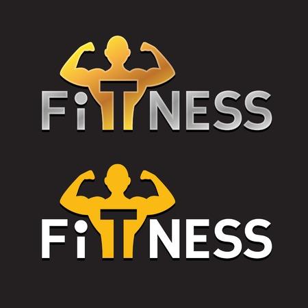 athletes: Fitness Sportif Silhouette Logo Template. la force d'alimentation homme ic�ne.