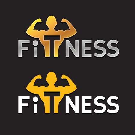 strong: Fitness Sportsman Silhouette Logo Template. Power strength man icon. Illustration