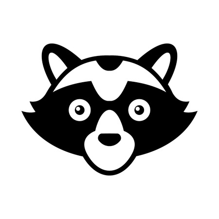 racoon: Raccoon Head Logo Style  Icon. Vector illustration
