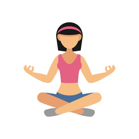 lotus position: Woman in Pose Practicing Yoga. Vector illustration