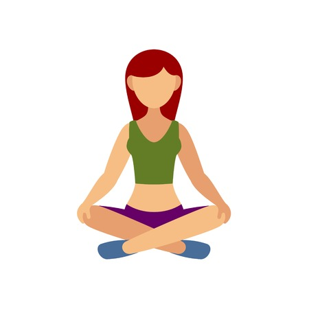 Woman in Pose Practicing Yoga. Vector illustration Vector