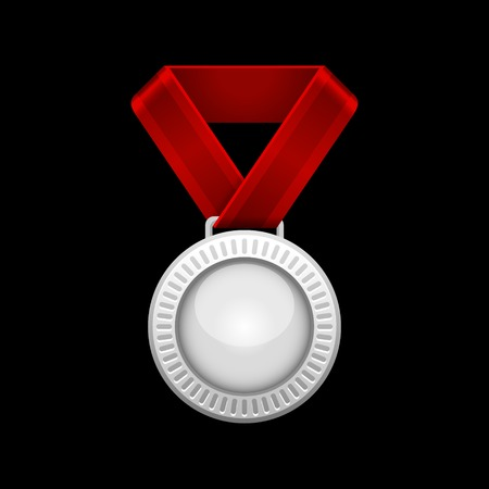 Silver Medal with Red Ribbon.  illustration illustration