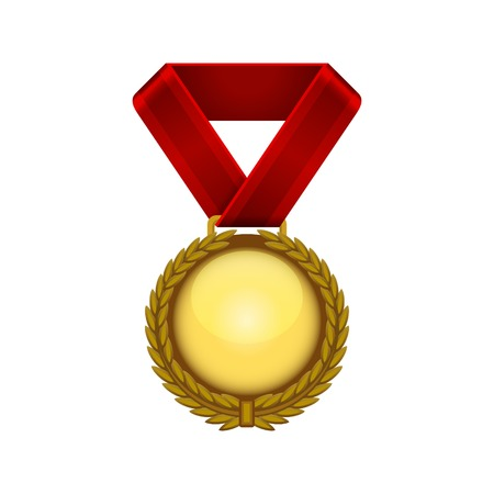 conqueror: Champion Gold Medal with Red Ribbon. Vector illustration