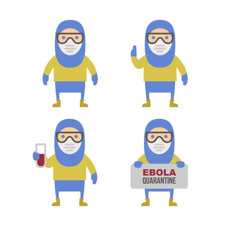 pathologist: Scientist in Protective Yellow Gear. Cartoon Style Vector Illustration Set