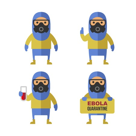 ebola: Scientist in Protective Yellow Gear. Cartoon Style Vector Illustration Set