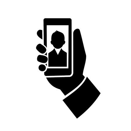 camera phone: Man Making  Selfie Photo Icon. Vector illustration