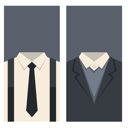tailored: Business Card with Suits and Ties Design. Vector illustration
