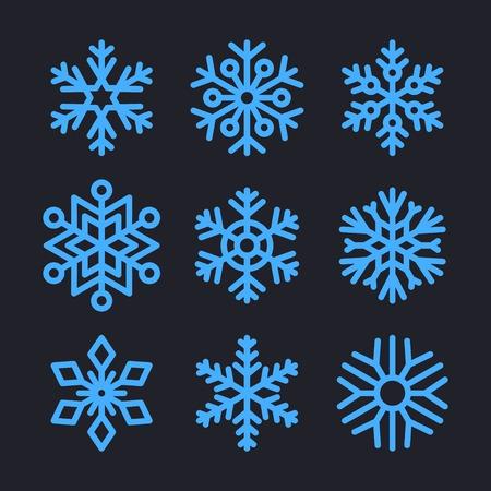 Sneeuwvlokken instellen voor kerst winter ontwerp. Stock Illustratie