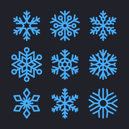 Snowflakes Set for christmas winter design.