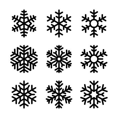 Sneeuwvlok pictogrammen instellen op een witte achtergrond. Vector illustratie Stock Illustratie