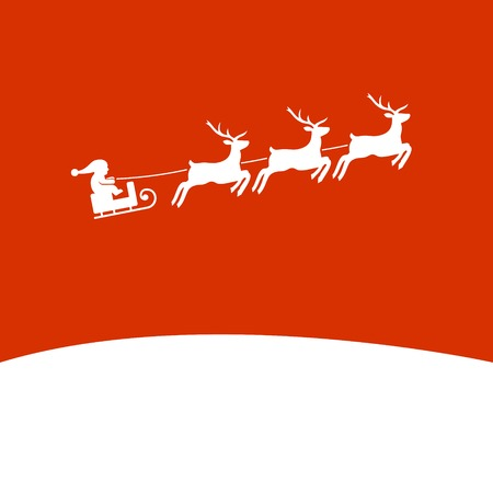 santa and sleigh: Christmas Background with Santa and Deers. Vector illustration