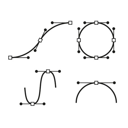 bezier: Bezier Curve Icons Set. Designer work tools. Vector illustration