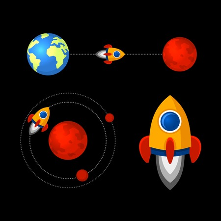 trajectoire: Mission to Mars Icons Set. Vector illustration