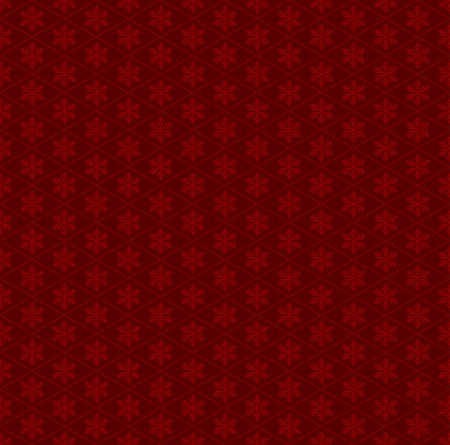 Seamless Red Pattern with Snowflakes. Vector illustration Vector