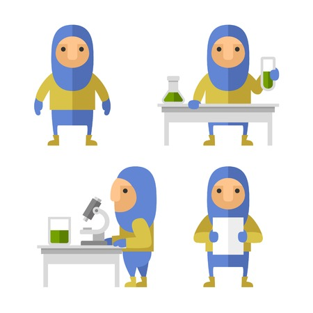 savant: Set of Scientist Characters in Lab. Vector Flat Style Illustration