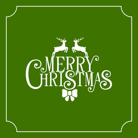 background green: Christmas Retro Typographic Background on Green. Vector illustration