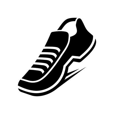 running shoe: Scarpa icona su sfondo bianco. Illustrazione vettoriale
