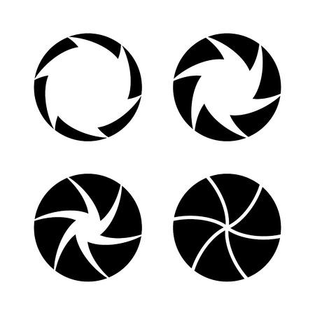 camera shutter: Camera Shutter with Different Open Aperture. Vector