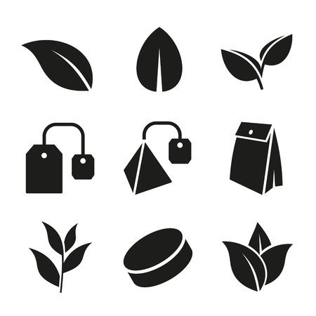 차 잎과 가방 아이콘 흰색 배경에 설정합니다. 벡터 일러스트