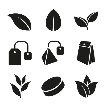 herb tea: Tea Leaf and Bags Icons Set on White Background. Vector Illustration