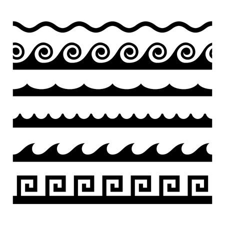 ripple wave: Seamless Wave Pattern Set. Vector Template Illustration
