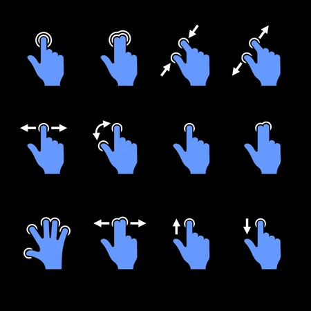 nudge: Gesture Icons Set for Mobile Touch Devices. Vector illustration