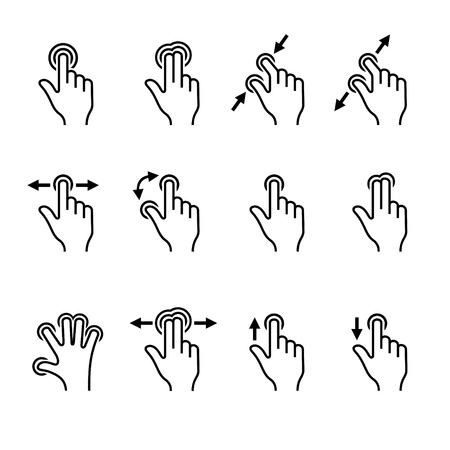 swipe: Gesture Icons Set for Mobile Touch Devices. Vector illustration