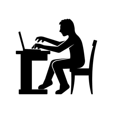 computer chair: Programmer Silhouette Working on His Computer. Vector illustration Illustration