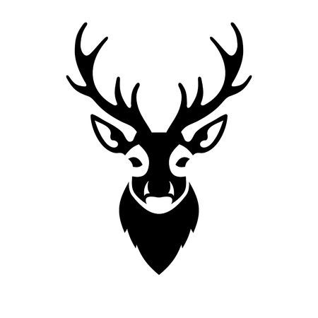 흰색 배경에 사슴 머리 아이콘입니다. 벡터 일러스트 레이 션