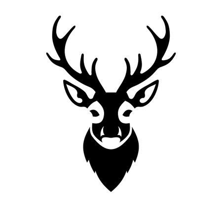 Deer Head Icon na bílém pozadí. Vektorové ilustrace Ilustrace