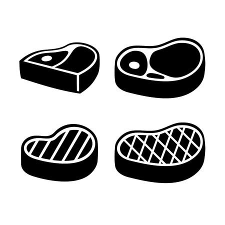 carne asada: Carne de vaca Carne de solomillo de conjunto de iconos. Ilustración vectorial