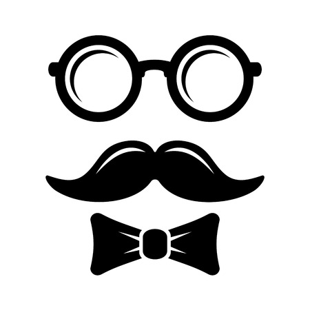 mustaches: Hipster Style Set Bowtie, Glasses and Mustaches. Vector illustration