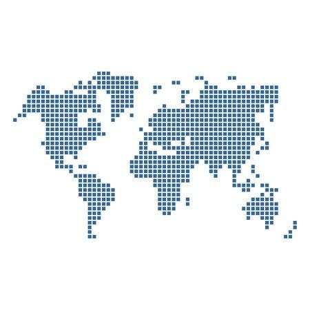 点線の青い世界地図に分離白。ベクトル イラスト