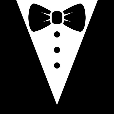 night shirt: Bow Tie and Black Suit Icon. Vector illustration